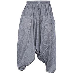 Pantalones estilo ninja, genio, Aladino, harén Little Kathmandu, pantalones de algodón ligero para hombres gris gris claro S