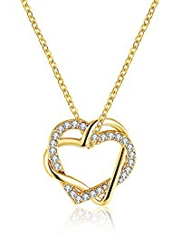 3c782f61d5 Fjyouria, collana da donna con ciondolo a forma di due cuori intrecciati,  con zirconi bianchi, placcato oro, collane…