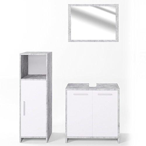 Badmöbel Set KIKO Grau Beton Weiß - Spiegel + Waschtischunterschrank + Bad Midischrank