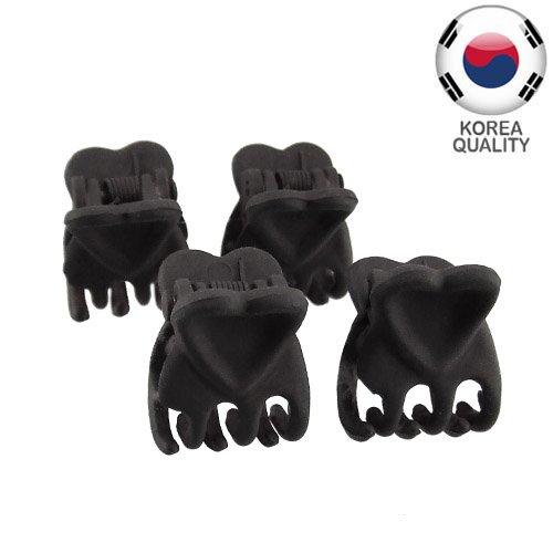 32 – 401 – Lot de 4 Mini Pinces gommées cœur cm 1,5 – Barrettes Pinces noir