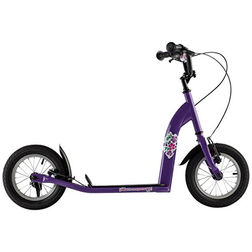 Ultrasport Patinete infantil para niñas, neumáticos extra anchos de 12 pulgadas, cuadro de acero, freno de mano para la rueda delantera y trasera, a partir de 7 años, Púrpura