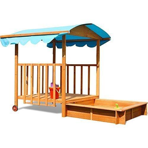 Sandkasten mit überdachter Spielveranda