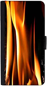 Snoogg Closeup Fire Flame Designer Protective Flip Case Cover For Htc One S