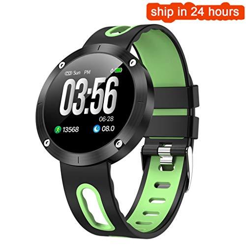 YJRIC Sportuhr Bluetooth Armband 4.0 Blutdruck IP68 wasserdicht Activity Tracker Smart Band Geschenk für Freund, grün - Band Changeable Sehen Zu