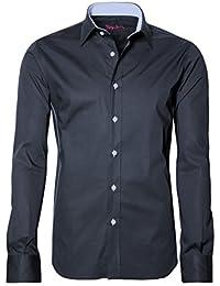 SIGNUM Slim Fit Hemd Langarm New Kent Kragen Stretch dunkelblau