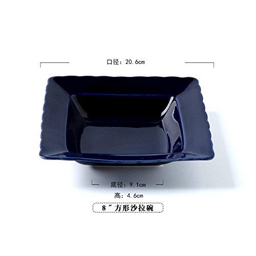 Cjupzi Schüssel Platte Geschirr Keramik Geschirr Runde Salatschüssel Große Schüssel Ramen Bowl 8 Zoll Blue Square Salatschüssel -