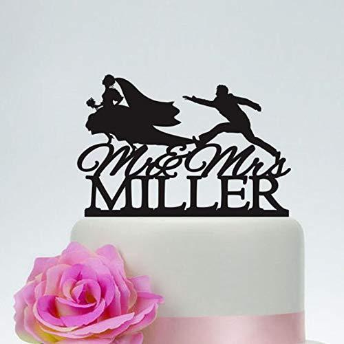 PotteLove Bride and Groom Running Wedding Cake Topper, Runaway Bride, Funny Wedding Cake Topper,Custom Any Name Mr and Mrs Acrylic Cake Decoration