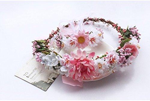 Blumenkranz Kinder Kranz Kopfschmuck Mädchen Kleid Zubehör Kopf Kranz Hand Ring Urlaub Fotografie anzeigen (Kind Kopf Kranz)