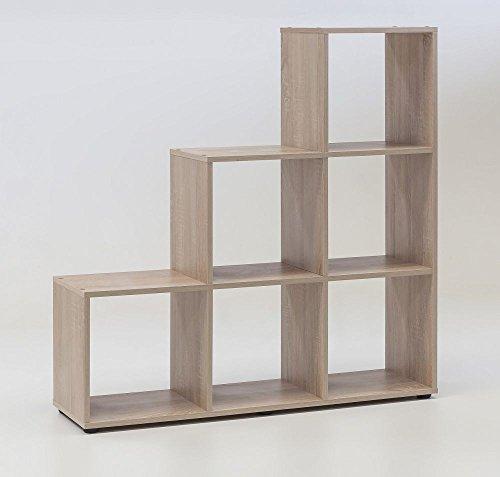 Regal / Treppenregal 'Lina', Eiche sägerauh Dekor, 6 Fächer, 104,5x107,5x29cm, Raumteiler,...