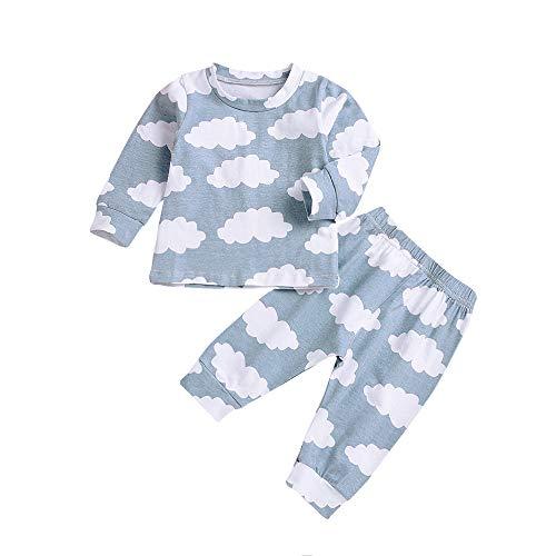 Kleinkind Kinder Baby Boy MäDchen Wolke T-Shirt Tops + Hosen Familie Pyjamas Kleidung Set Unisex Weihnachts Outfits Pajama Sets Xmas Sleepwear Sweater Lange äRmel Eltern-Kind(Blau,80cm)
