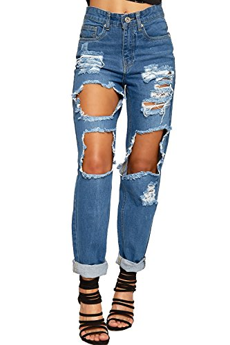38-taille 29 Bein (WEARALL Damen Bekümmert Hoch Taille Denim Jeans Damen Ripped Schaltfläche Tasche Neu - Blau - 38)