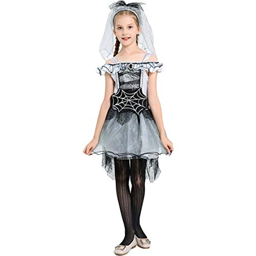 Halloween Set Kinder Spider Wizard Kleids + Gürtel + Kopfbedeckung Kinderkostüm Kleid Cosplay Party Kleid Märchen Kleid Karneval Requisiten, Bühnenkostüme Goth Ballkönigin-Kostüm