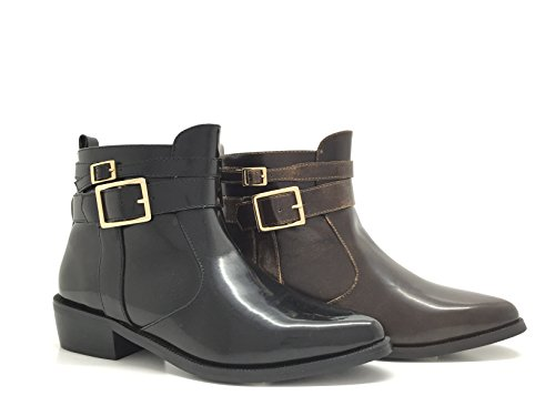 CHIC NANA . Chaussure Femme Bottine Low Boots Richelieu Style Similicuir, Fermeture éclair et Bride Cheville, Bout Pointu.