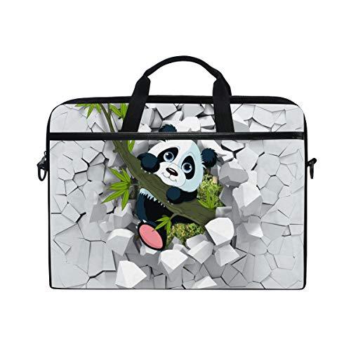 Ahomy 14-15,4 Zoll Laptoptasche 3D Panda auf der gebrochenen Wand Canvas Stoff Laptop Tasche Bussiness Handtasche mit Schultergurt für Damen und Herren - 4in Wand