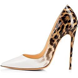 uBeauty Damen High Heels Stilettos Slip-on Pumps Spitze Zehen Sexy Übergröße Schuhe Weiß 38.5 EU