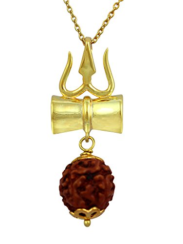 Exxotic Jewelz Sterling Silver Religious Lord Shiv Trishul Rudraksha Pendant For Men & Women (Gold)