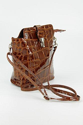 Belli piccolo Elegante borsa a mano in pelle italiana borsa a tracolla di colore a scelta–18x 20x 8cm (B x H x T) cognac lack