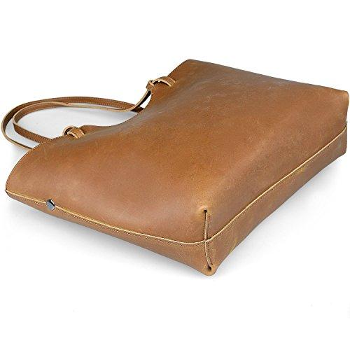 Braun Hermiona Shoulder Gelblich Bag Tote Leather Genuine Handbag Ladies rInqRr8U