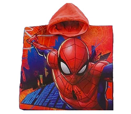Marvel Spiderman: Bademantel/ Kapuzen Poncho für Kinder, 100% Baumwolle (Frottier) (Bademantel Spiderman)