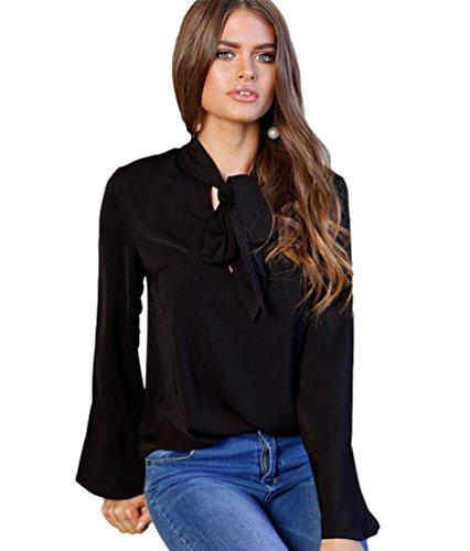 Sentao Donne Chiffon Camicetta Maniche Lunghe Elegante Maglietta Camicia Tops Shirt Nero