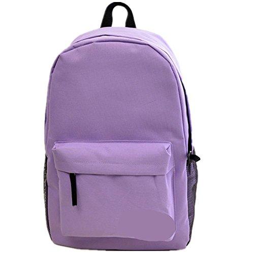 Xiuxiandianju 20-35L Rucksack single Männer und Frauen Studenten in einem festen Farbe Reißverschluss Taschen light purple