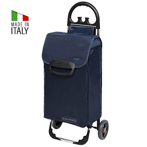 Einkaufstrolley ETY in blau - Klappbarer Trolley nur 1,5kg - Einkaufswagen mit leisen Rädern & großem Kühlfach - Einkaufsroller mit 70L bis 30kg belastbar