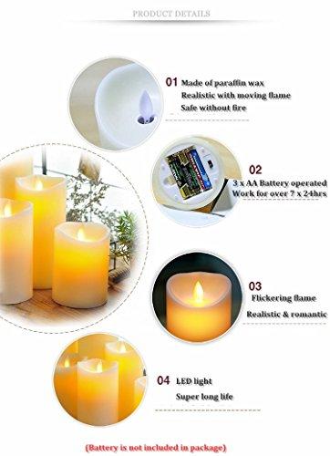 lukloy mecha en movimiento de set de 3velas LED de cera con mando a distancia, de baile Llama Vela Velas LED para Boda Navidad