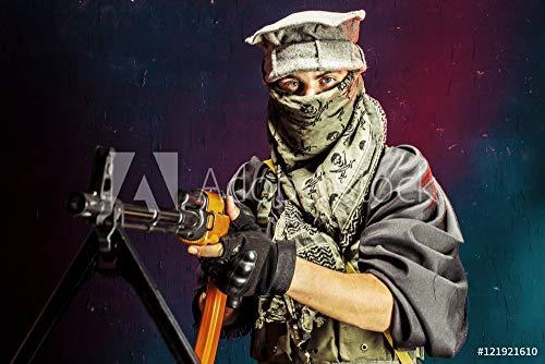 druck-shop24 Wunschmotiv: Portrait of Man Aiming with Machine Gun #121921610 - Bild als Foto-Poster - 3:2-60 x 40 cm / 40 x 60 cm -