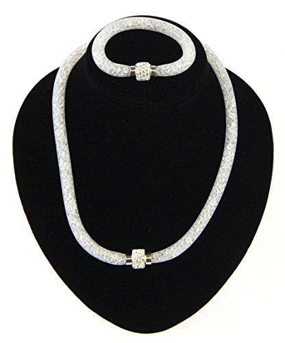 Preisvergleich Produktbild NB24 Versand Schlauchkette ca. 50 cm Länge + Armband ca. 18 cm (1177), Weiß mit Strass, mit Magnetverschluss, Damenkette Damenschmuck, Halskette, Modeschmuck, Kette