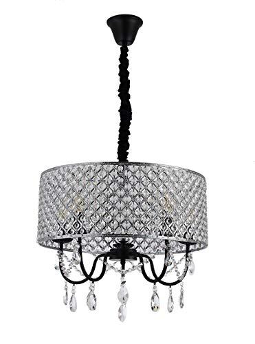 KINDSHOP 4-Light Runde Kristallpendelleuchte, Halb-Flush-Mount-Kronleuchter, Perlen-Trommel-Schatten, verstellbare Kette, Chrom-Finish, für Esszimmer Schlafzimmer Wohnzimmer Möbel Dekoration-50 -