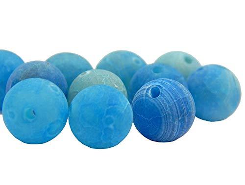 Edelstein Perlen Frosted Matt Achat Stein Blau 8mm Schmuckperlen 15stk Schmuckstein für DIY Armband Kette Basteln R317 -