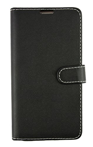 Samsung Galaxy On7 PU Leather Wallets/Flips Cover Black Plain by Emartbuy