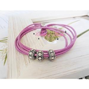 LederArmband rosa Straß-Perlen Wickel-Armband