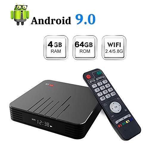 Android 9.0 TV-Box[4 GB RAM + 64 GB ROM], N5 Max S905X3 Quad-Core-Cortex-A53 Mali-T720MP2 Der Media Player Unterstützt 4K H.265 100M LAN Internet 2,4 Ghz Wifi 3D-Set-Top-Box Und USB 3.0,4gb+64gb