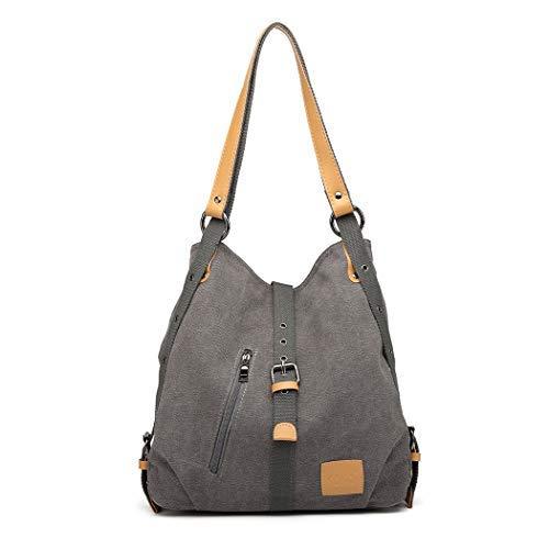 Kono Mochila de bandolera, bolsos de lona versátiles y multifuncionales para las mujeres niñas, elegantes bolsos cruzados, mochila duradera para viajes de gran capacidad para portátiles (gris)