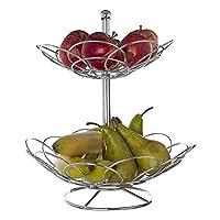 Round Fruit Basket Countertop Storage Fruit Bowl Stand Dinning Table Rack Display Decoration (2 Tier Chrome Basket)