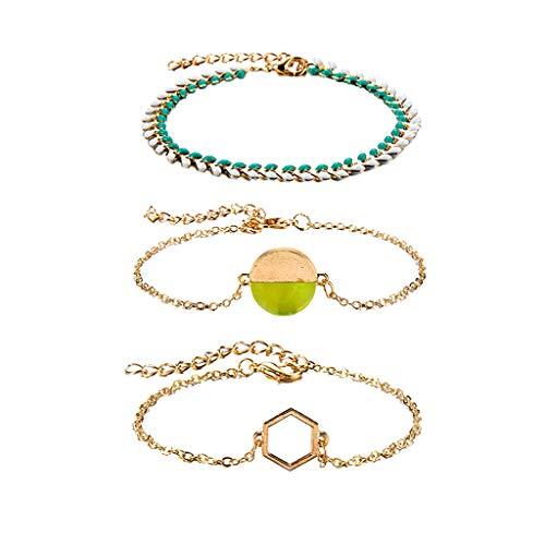 (Mypace Silber Gold 925 Armreif Für Damen Herren Persönlichkeits-Mode Cool Wind Candy Farbe Geometric Armband 3 Stück Set Schmuck)