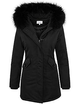 Designer damen winter jacke parka mantel winterjacke gefüttert Echt Fell und Kunstfell D-218