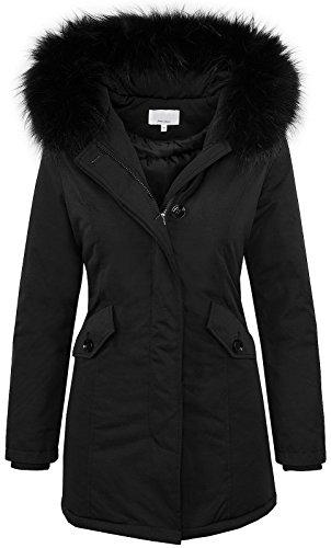 Designer damen winter jacke parka mantel winterjacke gefüttert D-218 [Black Gr. XL / 42]