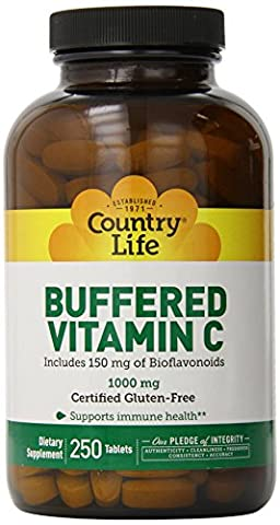 Buffered Vitamin C, 1000 mg, 250 Tablets - Country Life - Qty 1