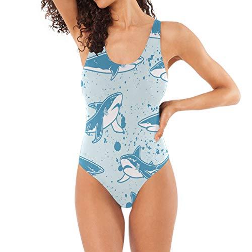 LKZNT Badeanzug für Damen, Blau, Haifisch Gr. M, M