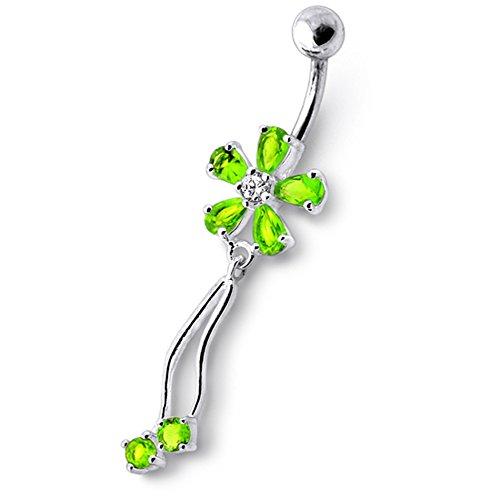 Barres de Pierre en cristal fleur tendance Design 925 argent Sterling avec le ventre en acier inoxydable Light Green