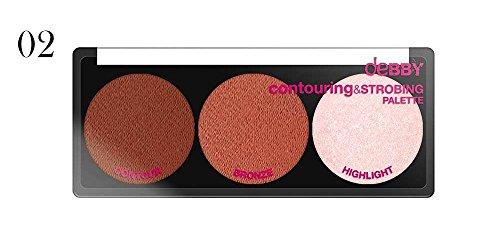 Debby Contouring & Strobing Powder Palette 002 tutti gli incarnati: toni rosati con highlight freddo.