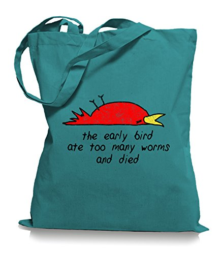 Ma2ca® È Morto Learly Bird - Jutebeutel Stoffbeutel Tragetasche / Bag Wm101 Smeraldo
