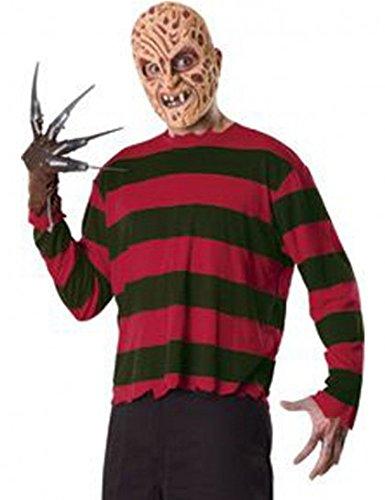 Original Lizenz Freddy Krüger Set Kostüm Maske Freddyset Handschuh Shirt Halloween Horror, Größe:L