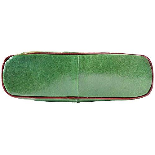 BORSA A SPALLA CON DOPPIO MANICO IN PELLE 215 Verde-marrone