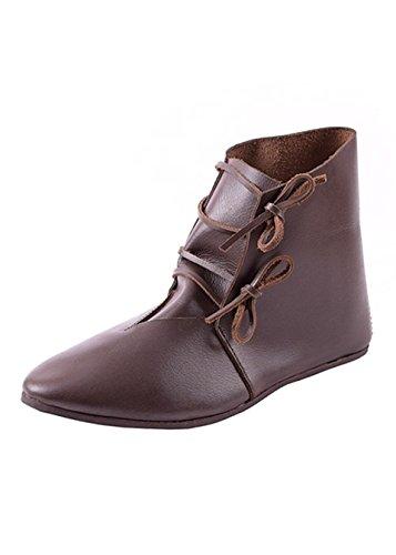 Mittelalterliche Schnürschuhe aus Leder, dunkelbraun - Mittelalter - LARP - Wikinger Schuhe Schuhgröße 46 (UK11) (Mittelalterliche Schuhe)