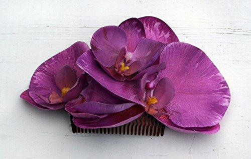 Haarschmuck mit Haarkamm Haarblume Orchidee Phalaenopsis rosa mit Haarspange #42745