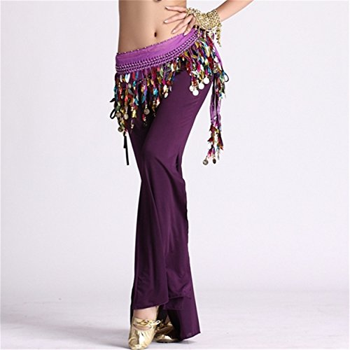 Damens Ladies Tanzen Pants Elastic Trousers Lycra Pants Tanzenwear Side Slit Culottes Dark Purple