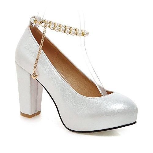 Adee Mesdames Perles en polyuréthane Pompes Chaussures Blanc - blanc